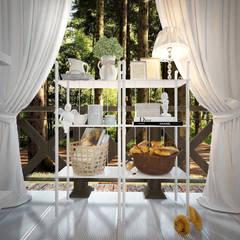 Дом в стиле дачный шик: Tерраса в . Автор – Дизайн-бюро Анны Шаркуновой 'East-West'