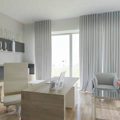 Dom w Margaretkach: styl , w kategorii Domowe biuro i gabinet zaprojektowany przez JSK STUDIO