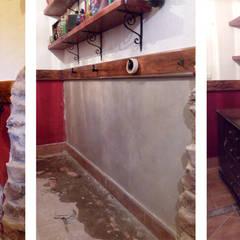 Reparación de humedades con tratamiento de impermeabilización : Paredes de estilo  de ÁBACO REFORMAS