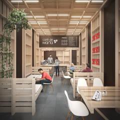Café de María: Espacios comerciales de estilo  por B+V Arquitectos