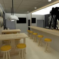Diseño Interior para instalaciones de CAMARA TV: Comedores de estilo  por SIMETRIC ARQUITECTURA INTERIOR