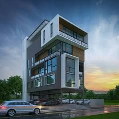 HOME OFFICE:  กำแพง โดย Glam interior- architect co.,ltd, โมเดิร์น คอนกรีต