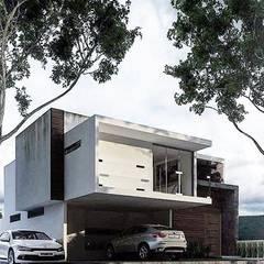 Residencial R-01: Espacios comerciales de estilo  por White Arquitectos, Moderno Concreto