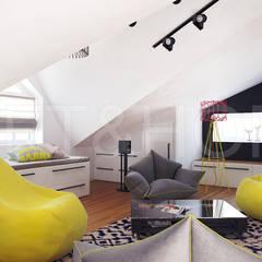 ТАУНХАУС, КЕМБРИДЖ, 140М2: Медиа комнаты в . Автор – Loft&Home