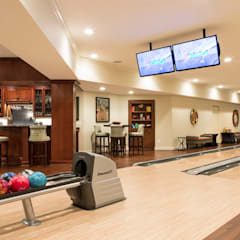 Riverside Retreat - Bowling Alley: eclectic Media room by Lorna Gross Interior Design