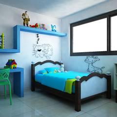 Casa V & Y: Recámaras infantiles de estilo  por Ecourbanismo
