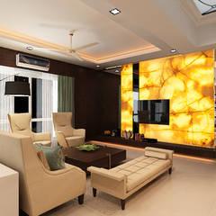 Entertainment wall: classic Living room by Neelanjan Gupto Design Co