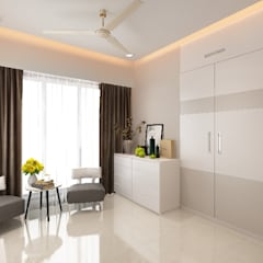 Rohan Ghumare 2BHK apartment:  Bedroom by Neelanjan Gupto Design Co