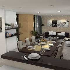 Diseño interior de sala, comedor : Comedores de estilo clásico por Arquitecto Pablo Restrepo
