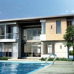 บ้านพักอาศัย 2 ชั้น สไตล์โมเดิร์น:  บ้านและที่อยู่อาศัย by LEVEL ARCHITECT