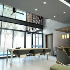 บ้านพักอาศัย 2 ชั้น สไตล์โมเดิร์น:  ระเบียงและโถงทางเดิน by LEVEL ARCHITECT