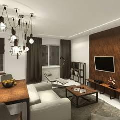 Industral apartment: industrial Living room by KOKON zespół architektoniczny