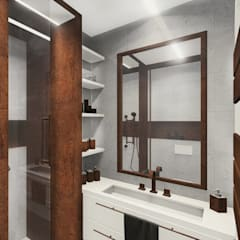 uncompromising single apartment in Bialystok, Poland:  Bathroom by KOKON zespół architektoniczny,