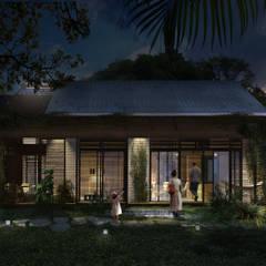 FACHADA FILTRANTE NOCHE: Casas de estilo  por SUPERFICIES Estudio de arquitectura y construccion
