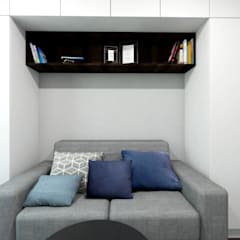 Pokój w minimalistycznym klimacie: styl , w kategorii Pokój multimedialny zaprojektowany przez MONOstudio