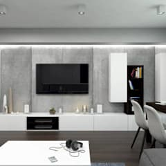 Salon w minimalistycznym klimacie: styl , w kategorii Salon zaprojektowany przez MONOstudio