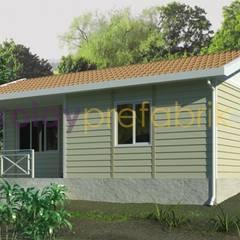 Kolay Prefabrik Evler – TEK KATLI PREFABRİK EV 58 m2 (2+1) Dış Cephe Betopan Yalı Baskı Kaplama:  tarz Evler