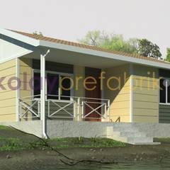 Kolay Prefabrik Evler – TEK KATLI PREFABRİK EV 58 m2 (2+1) Dış Cephe Betopan Taşonit Kaplama: klasik tarz tarz Evler