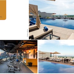 Terraza y gimnasio: Hoteles de estilo  por Andrea Loya