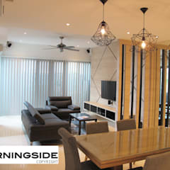 THOMSON ROAD PENTHOUSE CONDO UNIT:  Living room by MORNINGSIDE PTE LTD