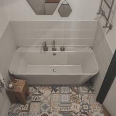 Mieszkanie jednopokojowe. Nowoczesna łazienka od hexaform Nowoczesny