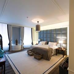 Renovatie en inrichting monumentale stadsvilla:  Slaapkamer door Atelier Denessen Architecture,
