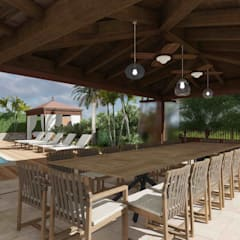 View of the outdoor dining area: Giardino d'inverno in stile in stile Mediterraneo di Planet G