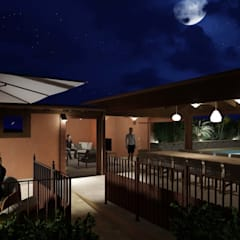 Night view from the pathway to the outdoor dining area: Giardino d'inverno in stile in stile Mediterraneo di Planet G
