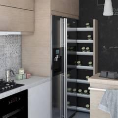 Przytulne mieszkanie dla miłośników drewna Skandynawska kuchnia od Stojak Studio Skandynawski