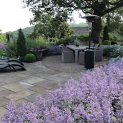 Holmfirth Garden:  Terrace by Caroline Benedict Smith Garden Design Cheshire