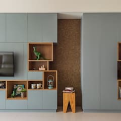 Living room by 齊禾設計有限公司, Scandinavian Solid Wood Multicolored