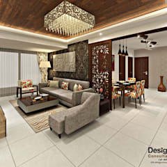 3BHK Flat Interior Design and Decorate at Mangalam Grand Vista, Vaishali Nagar, Jaipur:  Living room by Design Consultant