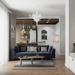 Projekt wnętrz domu jednorodzinnego w Krakowie: styl , w kategorii Salon zaprojektowany przez PRØJEKTYW | Architektura Wnętrz & Design