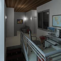 vista del area de llegada a planta alta: Salas de entretenimiento de estilo  por Diseño Store