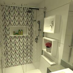 Banheiro Bailarina: Banheiros  por Hizzey Arquitetura e Interiores