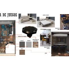 INTERIORISMO DE UNA VIVIENDA UNIFAMILIAR: Salas de entretenimiento de estilo  por Arq. Marynes Salas