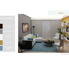 INTERIORISMO PARA UNA VIVIENDA UNIFAMILIAR DE 2 NIVELES: Salas / recibidores de estilo  por Arq. Marynes Salas