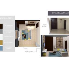 INTERIORISMO PARA UNA VIVIENDA UNIFAMILIAR DE 2 NIVELES: Pasillos y vestíbulos de estilo  por Arq. Marynes Salas, Moderno