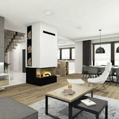 Projekt salonu, kuchni i jadalni: styl , w kategorii Salon zaprojektowany przez MONOstudio