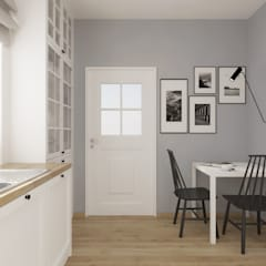 Biała kuchnia z drewnianym blatem: styl , w kategorii Kuchnia zaprojektowany przez SO INTERIORS ARCHITEKTURA WNĘTRZ