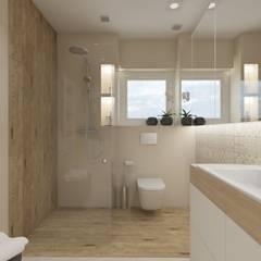 Łazienka w ciepłych barwach: styl , w kategorii Łazienka zaprojektowany przez SO INTERIORS ARCHITEKTURA WNĘTRZ