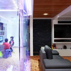 Remodelación departmento Moderno Ciudad de Mexico - Letran del valle: Salas multimedia de estilo  por All Arquitectura, Ecléctico