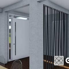 Cozinha e sala de estar/jantar : Corredores e halls de entrada  por Ocaeté Studio