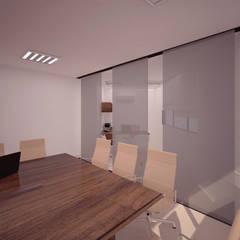 Puerta Corrediza en vidrio Oficina Director : Oficinas y Tiendas de estilo  por Fiallo Design Studio