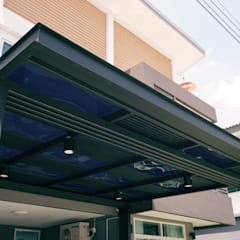 โรงจอดรถหลังคาโพลี่คาร์บอเนตแผ่นตันเรียบ:  โรงรถและหลังคากันแดด by P-lona