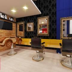 Barbearia retrô / salão de beleza masculino: Adegas  por Deborah Iachinski Arquitetura & Interiores