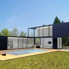 Projeto - Casa container: Casas  por PRISCILLA BORGES ARQUITETURA E INTERIORES