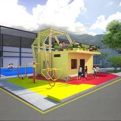 Area taller (antigua casilla policial) terraza jardin y gimnasio al aire libre: Terrazas de estilo  por Taller de Desarrollo Urbano