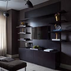 New York City Family Home: modern Media room by JKG Interiors