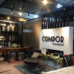 STAND - COMPOR REVESTIMENTOS: Centros de exposições  por Treez Arquitetura+Engenharia